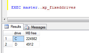 SQL SERVER - Get a List of Fixed Hard Drive and Free Space on Server  hddrive