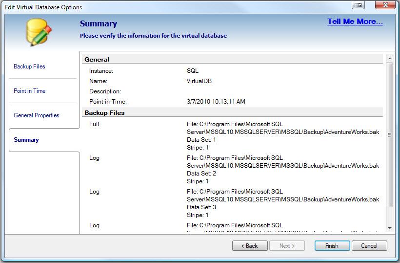 SQL SERVER - Retrieve and Explore Database Backup without Restoring Database - Idera virtual database vdb10