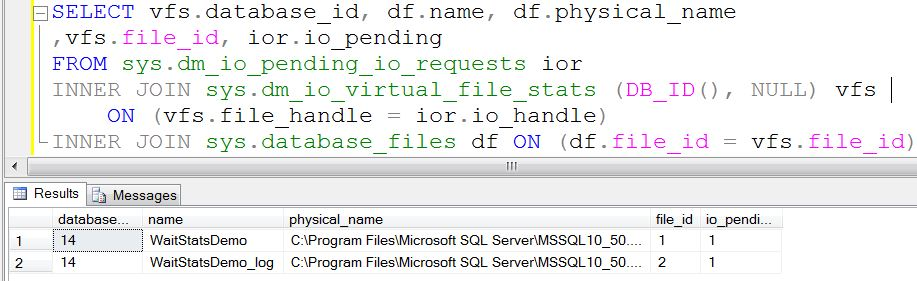 SQL SERVER - Pending IO request in SQL Server - DMV iowaitinfile