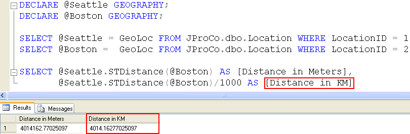 SQL SERVER - Geography Data Type - Calculating Distance Between Two Points on the Earth - Day 18 of 35 J2P_18_8