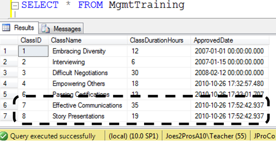 SQL SERVER - Tips from the SQL Joes 2 Pros Development Series - Table-Valued Store Procedure Parameters - Day 25 of 35 j2p_25_6