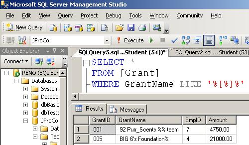 SQL SERVER - Tips from the SQL Development Series - Wildcard - Querying Special Characters - Day 2 of 35 j2p_2_2