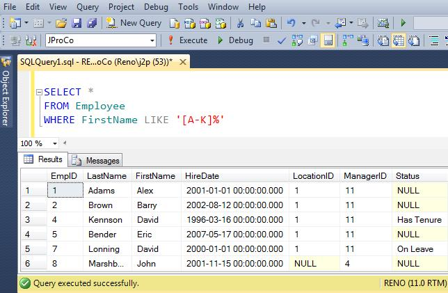 SQL SERVER - Puzzle #1 - Querying Pattern Ranges and Wild Cards j2pcontest-613-2