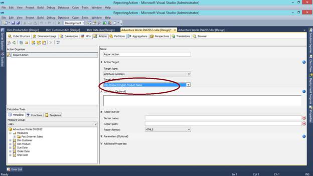 SQL SERVER - What are Actions in SSAS and How to Make a Reporting Action kssas-3