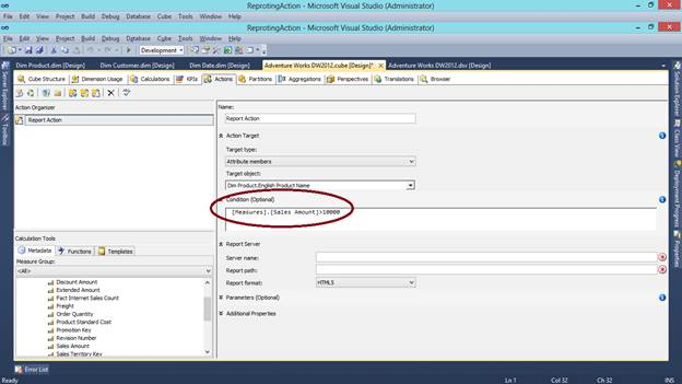 SQL SERVER - What are Actions in SSAS and How to Make a Reporting Action kssas-4