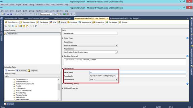 SQL SERVER - What are Actions in SSAS and How to Make a Reporting Action kssas-5