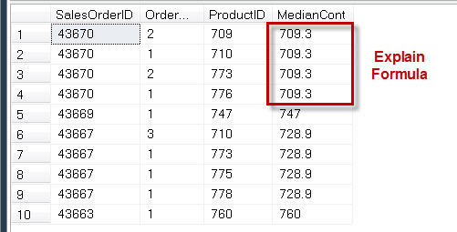 SQL SERVER - Puzzle to Win Print Book - Explain Value of PERCENTILE_CONT() Using Simple Example median2
