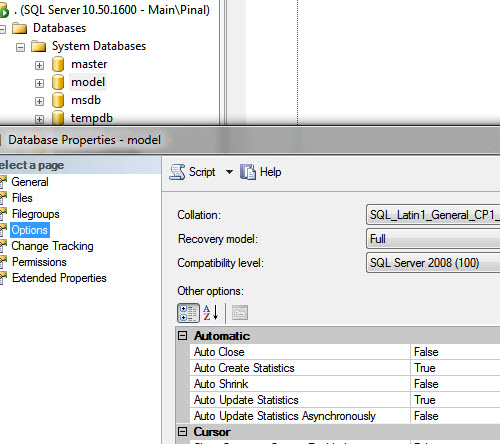 SQL SERVER - Creating All New Database with Full Recovery Model modelmodification