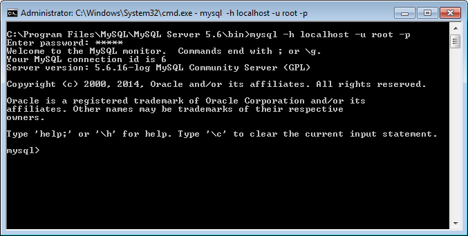 MySQL - How to Connect to MySQL Server on Command Prompt connect4