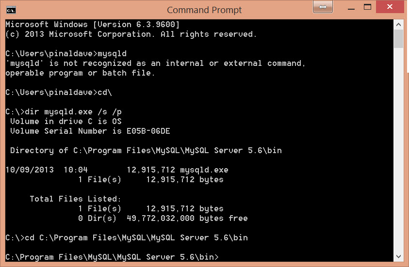 MySQL - How to Find mysqld.exe with Command Prompt -  Fix: 'mysql' is not recognized as an internal or external command, operable program or batch file mysqld5