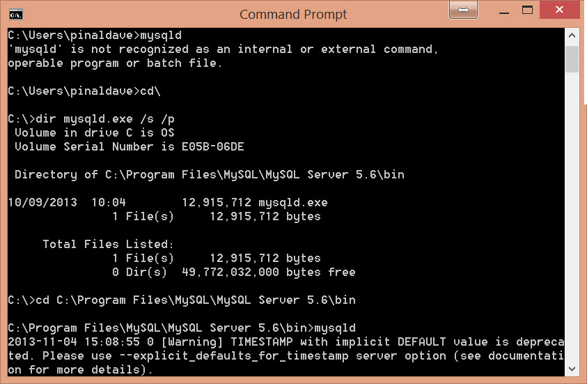 MySQL - How to Find mysqld.exe with Command Prompt -  Fix: 'mysql' is not recognized as an internal or external command, operable program or batch file mysqld6