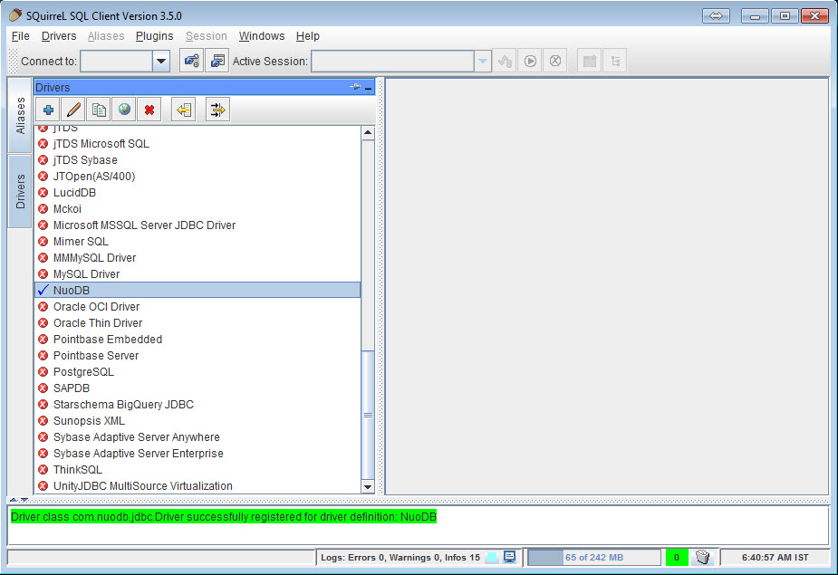 SQL - NuoDB and Third Party Explorer - SQuirreL SQL Client, SQL Workbench/J and DbVisualizer a4