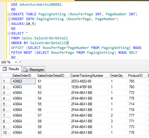 SQL SERVER - Server Side Paging in SQL Server Denali - Part2 paging4
