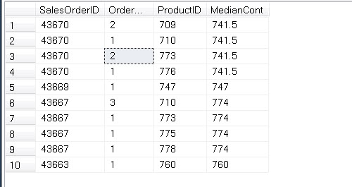 SQL SERVER - Introduction to PERCENTILE_CONT()  - Analytic Functions Introduced in SQL Server 2012 percentiledisc2