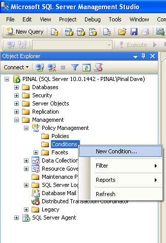 SQL SERVER - 2008 - Introduction to Policy Management - Enforcing Rules on SQL Server policy1