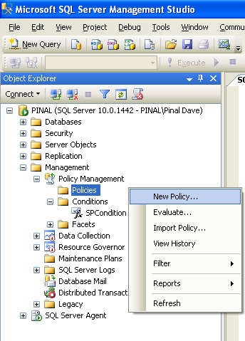 SQL SERVER - 2008 - Introduction to Policy Management - Enforcing Rules on SQL Server policy3