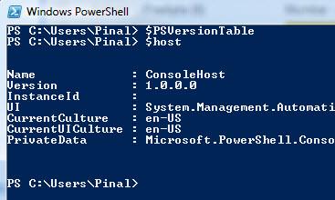 SQL SERVER – PowerShellVersionInfo powershell1