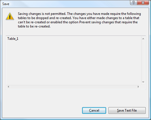 SQL SERVER - Fix : Management Studio Error : Saving Changes in not permitted. The changes you have made require the following tables to be dropped and re-created. You have either made changes to a table that can't be re-created or enabled the option Prevent saving changes that require the table to be re-created preventtable1