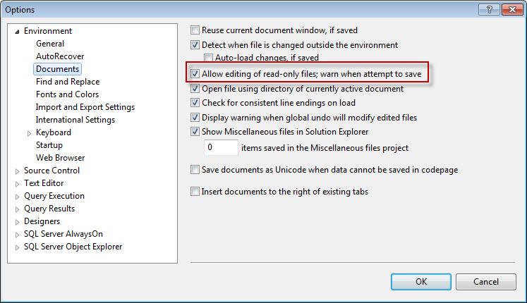 SQL SERVER - Read Only Files and SQL Server Management Studio (SSMS) readonly4