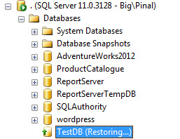 SQL SERVER - Database in RESTORING State for Long Time recoveryoption