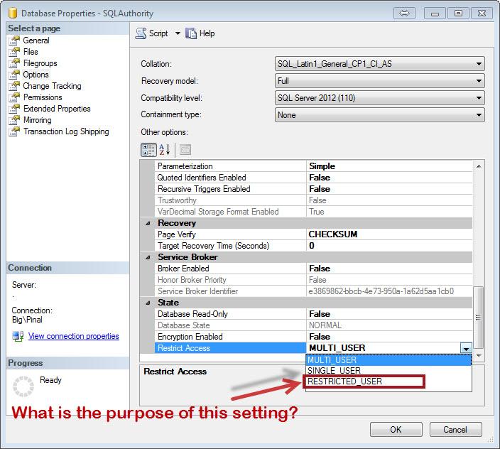 SQL SERVER - Understanding Restrict Access to Restricted_User Database Property restricteduser-q