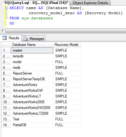 SQL SERVER - Four Different Ways to Find Recovery Model for Database rm3