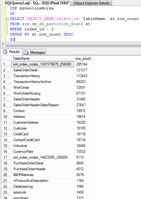 SQL SERVER - Find Row Count in Table - Find Largest Table in Database - T-SQL rowcount