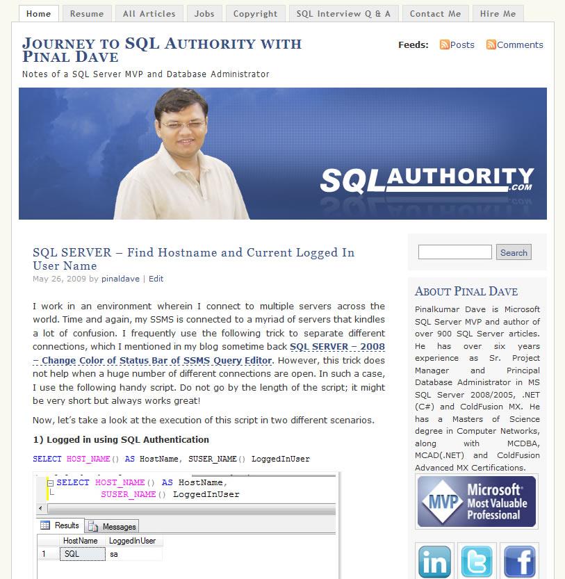SQLAuthority News - Blog Makeover - New Banner - New Color sa2009_1