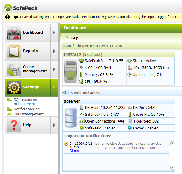 SQLAuthority News - SafePeak version 2.1 for SQL Server Performance Acceleration safepeak2_2