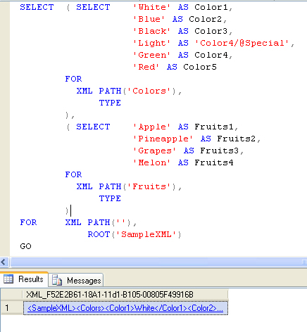 SQL SERVER - Simple Example of Creating XML File Using T-SQL samplexml1