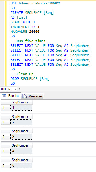 SQL SERVER - Denali - SEQUENCE is not IDENTITY seq1