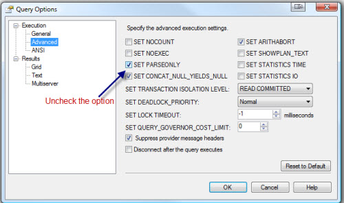 SQL SERVER - SSMS Query Command(s) completed successfully without ANY Results setparseonly3
