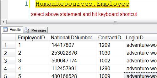 SQL SERVER - SELECT TOP Shortcut in SQL Server Management Studio (SSMS) shortcut3