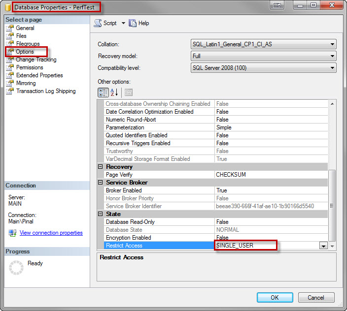 SQL SERVER - Change Database Access to Single User Mode Using SSMS singleuser1