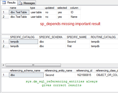 SQL SERVER - Get the List of Object Dependencies - sp_depends and information_schema.routines sp_depends2