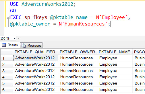 SQL SERVER - Listing Foreign Key Relationships of Table with Stored Procedure sp_fkeys sp_fkeys