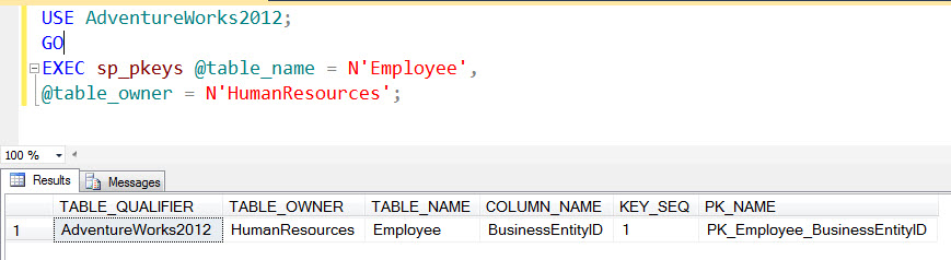 SQL SERVER - Listing Primary Key of Table with Stored Procedure sp_pkeys sp_pkeys