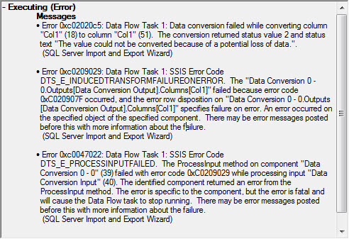 "SQL SERVER - Fix: Error: The conversion returned status value 2 and status text ""The value could not be converted because of a potential loss of data."".  (SQL Server Import and Export Wizard)  ssiserror"