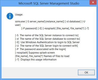 SQL Server - Using SSMS Command Line Parameters ssmsshortcut