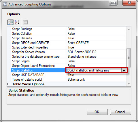 SQL SERVER - How to Script Statistics from SSMS? - Scripting Statistics is Disabled in SSMS statsscript5