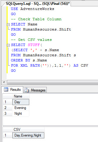 SQL SERVER - Comma Separated Values (CSV) from Table Column - Part 2 stuffsub