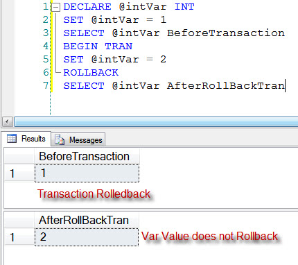 SQL SERVER - Difference Temp Table and Table Variable - Effect of Transaction tran