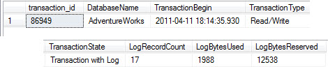 SQL SERVER - Transaction Log Impact Detection Using DMV - dm_tran_database_transactions  transaction