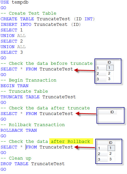 SQL SERVER - Rollback TRUNCATE Command in Transaction truncaterollback