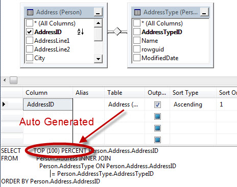SQL SERVER - SSMS Automatically Generates TOP (100) PERCENT in Query Designer view101