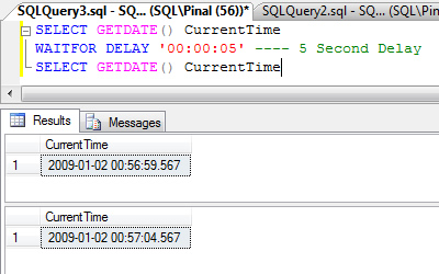 SQL SERVER - Time Delay While Running T-SQL Query - WAITFOR Introduction waitfor1