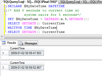 SQL SERVER - Time Delay While Running T-SQL Query - WAITFOR Introduction waitfor2