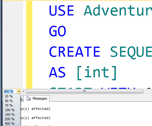 SQL SERVER - 2012 - Zoom Query Editor zoom2