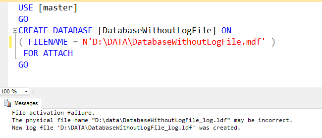 How to Attach MDF Data File Without LDF Log File - Interview Question of the Week #078 DatabaseWithoutLogFile1