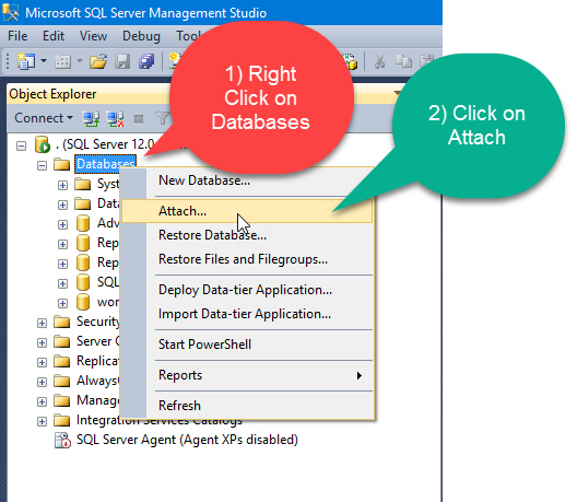 How to Attach MDF Data File Without LDF Log File - Interview Question of the Week #078 DatabaseWithoutLogFile2